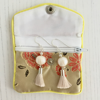 Sterling Silver Earrings with Cream Freshwater Pearls and Cream Tassels