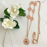 Long Rose Gold Plated Chain Necklace with Filigree Charms and Pendant