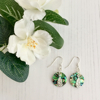 Sterling Silver Earrings with Paua Shell Pendant and Sterling Silver Leaf Charm
