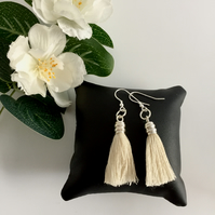 Sterling Silver Earrings with Cream Tassel with Sterling Silver Trim