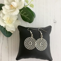 Silver Plated Earrings with Filigree Flower Drop with Swarovski Crystal