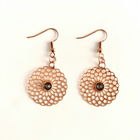 Rose Gold Plated Earrings with Filigree Flower Drop with Swarovski Crystal