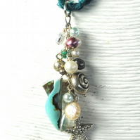 Pearl and Silver Cluster Pendant on Silk Braid