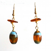 Amber and turquoise bead earrings with amber chip nugget