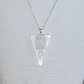 Triangle shaped glass pendant with dichroic geometric design OOAK pendant