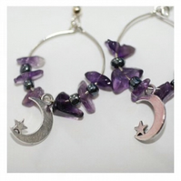 Moon & star amethyst beaded hoop earrings