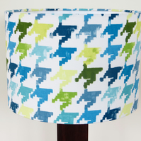 Blue teal and lime 30cm drum lampshade