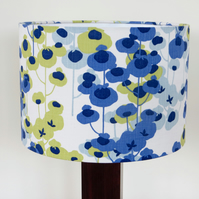 Cornflower blue and olive floral 30cm drum lampshade