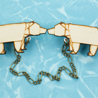 ORIGAMI ANIMALS: wood bear laser cut collar clips