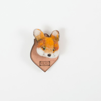 FAUX TAXIDERMY 'fox aka vulpes' needle felt and laser cut brooch