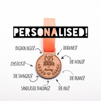 Personalised Medal: 'King of..' Wooden Medal - personalised gift