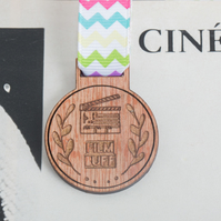 Film Buff Medal - gift for film fans, cinema goers, oscar buffs, movie geeks