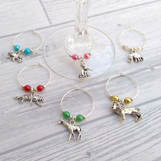 Safari animals wine charms set of 6