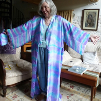 Hand Painted Silk Original Kimono Robe - One size 12 -16  but Tall 160 cm Length