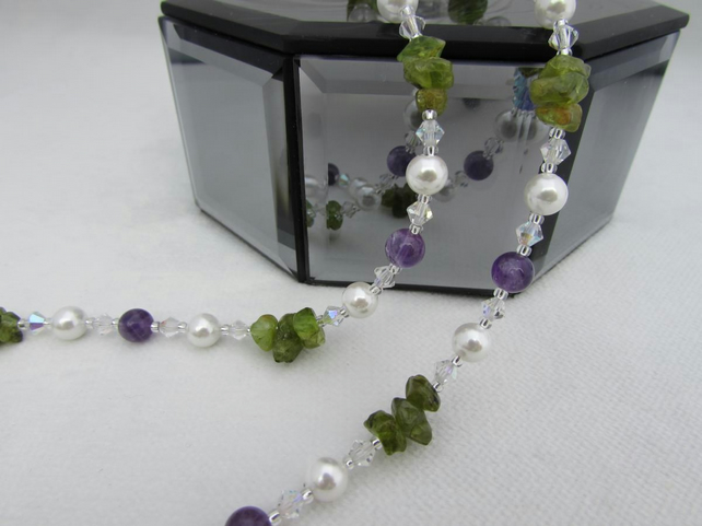 SALE Amethyst, Pearl & Peridot Necklace, Peridot Jewellery, Amethyst Necklace