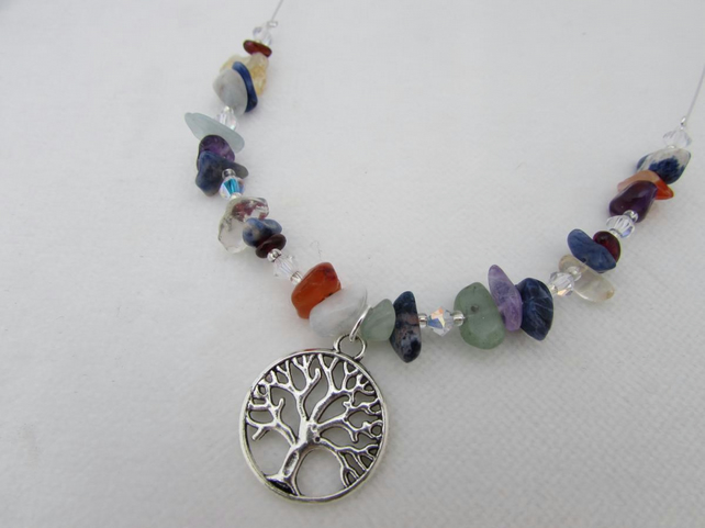 Tree of Life & Gemstone Necklace, Chakra Gemstone, Tree of Life