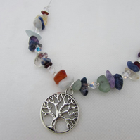 SALE ITEM - Tree of Life & Gemstone Necklace, Chakra Gemstone, Tree of Life
