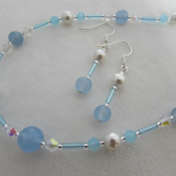 50% off - Pearl & Blue Quartzite Necklace & Earring Set