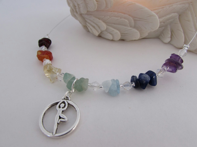 Receive 50% off with code SALE17 Yoga Pose & Gemstone Necklace, Chakra Necklace