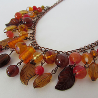 SALE ITEM - One Only.  Orange & Brown Necklace, Autumn Colours, Autumn Necklace