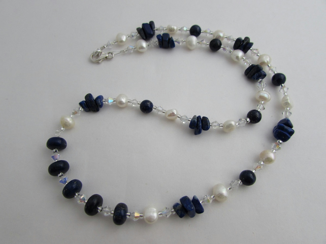 Receive 50% off with code SALE17 Lapis Lazuli & Freshwater Pearl Necklace.
