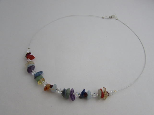 50% off all items with code SALE17 Chakra Necklace, Rainbow Necklace