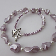 SALE Lilac & Pearl Necklace, Lilac Necklace, Lilac Jewellery, Pearl Necklace