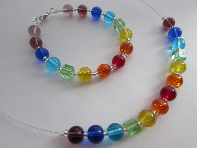 Rainbow Chakra Necklace & Bracelet, Rainbow Necklace, Rainbow Bracelet