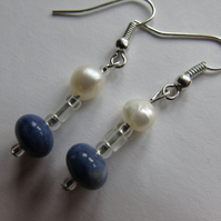 Sodalite & Pearl Earrings