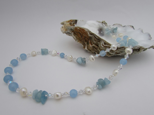 Freshwater Pearl, Blue Quartzite, Aquamarine & Sterling Silver Necklace.