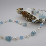 Freshwater Pearl Blue Quartzite & Aquamarine Necklace. Pearl Necklace, Blue