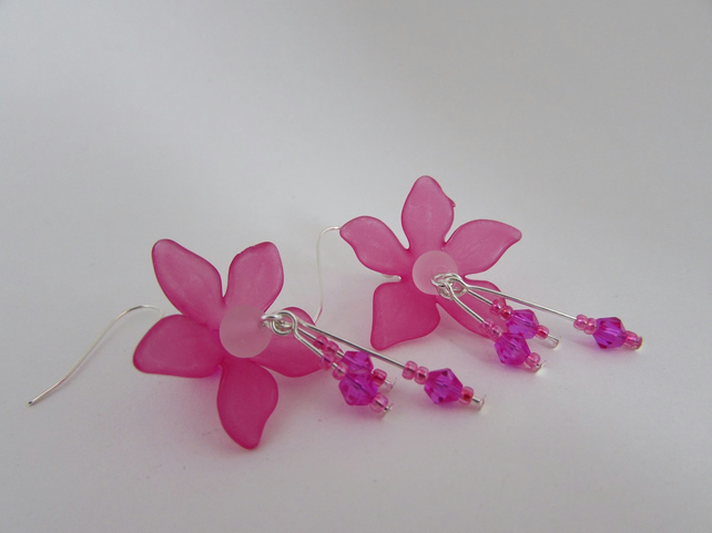 Cerise Pink Flower Earrings, Flower Gift, Pink Flowers, Flower Jewellery. SALE