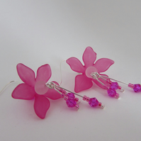 50% off all items with code SALE17 Cerise Pink Flower Earrings, Flower Jewellery