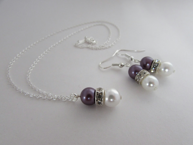 Pearl Necklace & Earrings Set, Pearl Jewellery, Pearl Set, Pearl Necklace
