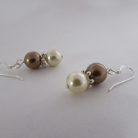 Bronze & Cream Pearl Earrings, Bronze Pearl, Cream Pearl Jewellery, Cream Pearl
