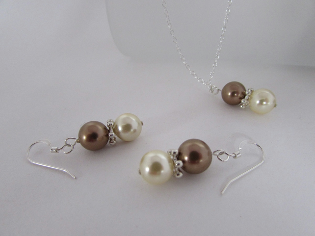 Bronze & Cream Pearl Necklace & Earrings Set, Pearl Jewellery, Pearls