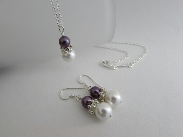 Receive 50% off with code SALE17 Pearl Necklace & Earrings, Pearl Set, Pearl