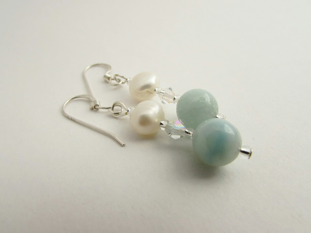 Freshwater Pearl & Amazonite earrings.Amazonite Jewellery, Amazonite Earrings