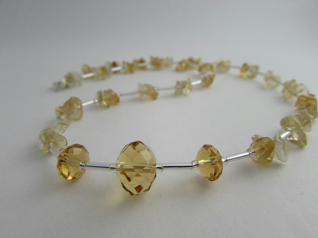 Citrine Necklace, Citrine & Sterling Silver Necklace, November Birthstone 18.25""