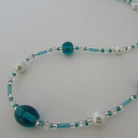Pearl & Teal Glass Bead Necklace