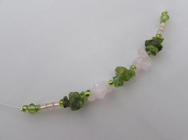Rose Quartz and Peridot necklace, Peridot Jewellery, Rose Quartz Jewellery