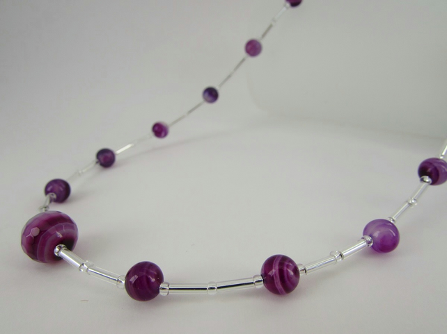 Agate Necklace, Purple Agate Necklace, Agate Jewellery, Purple Agate
