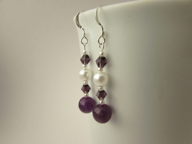 Amethyst Gemstone & White Pearl Earrings, Amethyst Earrings, Pearl Earrings