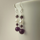 Amethyst Gemstone & White Pearl Earrings