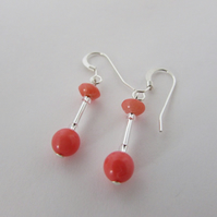Coral Earrings, 35th Anniversary, Coral Wedding, Coral Anniversary, Pink Coral