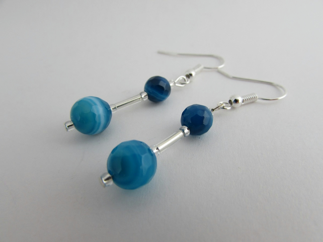 Blue Agate Earrings, Gemini Birthstone. Agate Earrings, Agate Jewellery, Agate