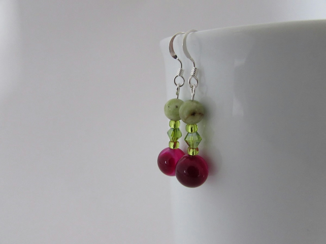 Peridot, Agate & Sterling Silver Earrings, Peridot Earrings, Peridot, Agate