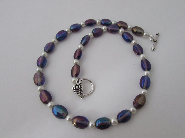 Pearl & Purple Oval Glass Bead Necklace, Purple Jewellery,Shell Pearl