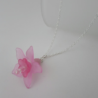 Pink Flower Pendant Necklace, Pink Flower Necklace, Flower Necklace