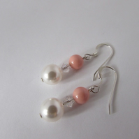 Coral Pink & White Swarovski Pearl & Crystal Earrings. Sterling Silver.